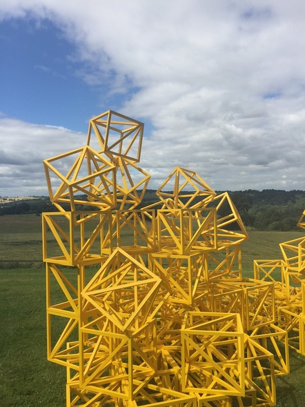 Rasheed Araeen, Zero to Infinity (Sunflower Yellow), outside the Longside Gallery, Yorkshire Sculpture Park