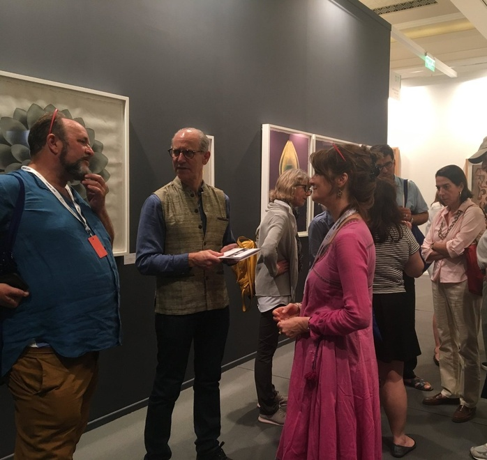 William Dalrymple, Glenn Lowry and Olivia Fraser at the booth