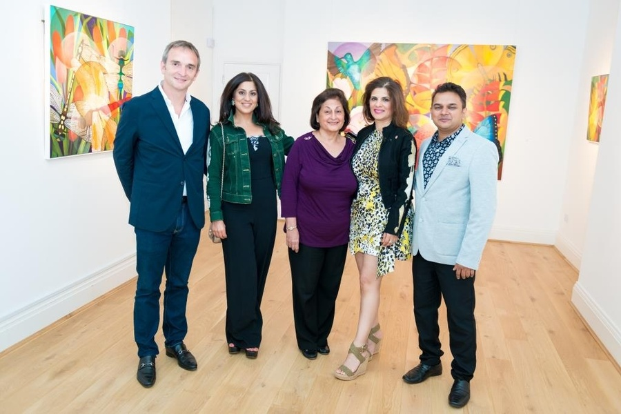 Conor Macklin, Jyoti B, guest, Meena Chainani and Premal Sanghvi at the preview