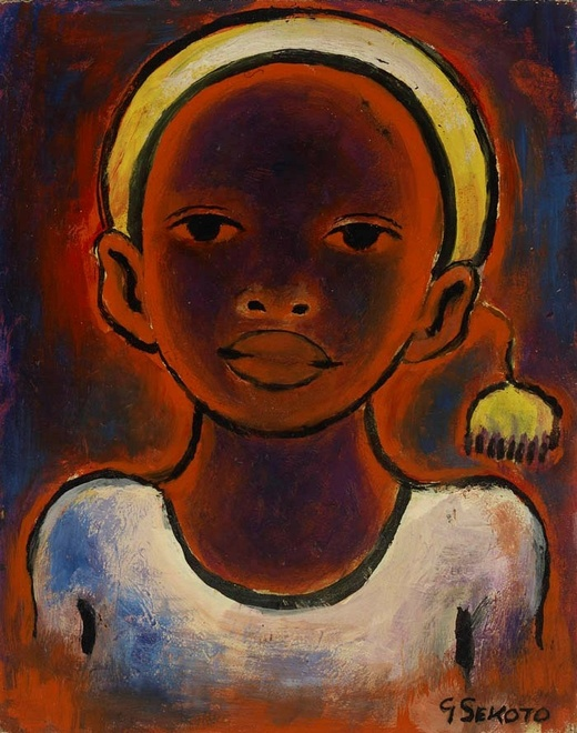 Gerard Sekoto, Head of a Girl with pompom, 1948